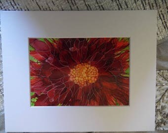 Alcohol Ink paintings. Bright , vibrant one of a kind . On an 8 X 10 white mat Shades of red floral