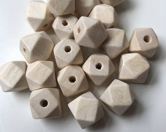 10mm Geometric wooden beads, natural wood