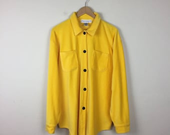 90s Yellow Button Up Size L, Oversized Button Up, Yellow Jacket