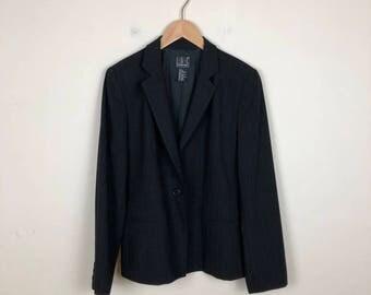 90s Pin Stripe Blazer Size Medium, Black Pin Stripe Blazer