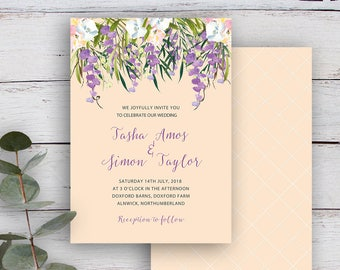 FLORAL CASCADE, DIY Printable Invitation Template, Watercolour Florals & Foliage, Buttermilk