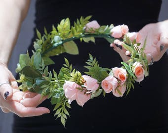 Flower crown wedding, bridal flower crown, blush floral headband, blush flower crown adult, bridal headpiece