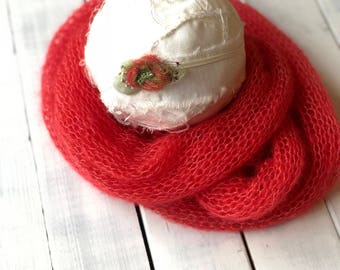 New born Delicate Headband, New Born Girl Headband, Green and red Headband, New born Christmas