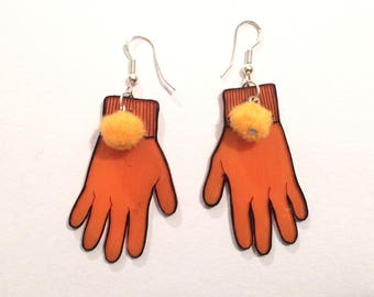 Glove with Pom Pom Earrings