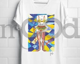 "T-shirt with ""bikini woman"""
