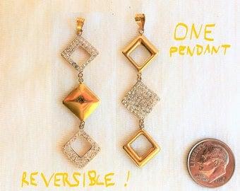 "Estate 18K Yellow Gold Dangle Reversible Pendant 2-1/4"" long 1.3g CZ diamonds Marked 18kt 18 k kt 750 Vintage Puffy Diamond Square Moves"