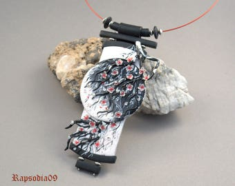Jewelry pendant sakura Polymer clay pendant japanese  White black jewelry Sakura pendant Ethnic pendant Statement jewelry