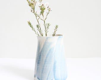 light blue brushed vase, medium, pot, handmade, wheel thrown, ceramic, pottery, glazed