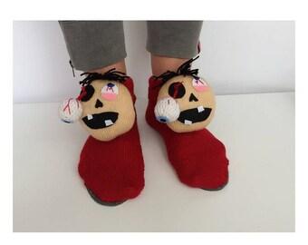 Halloween Slippers, knitted zombie, fanny socks, zombi Slippers, monster Slippers, Frankenstein socks, the walking Dead socks, weird slipper