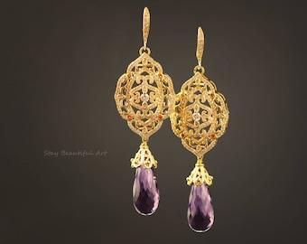 Amethyst Earrings With Gold Plated Components Teardrop Gemstone Drop Briolette Purple Earrings Gemstone Jewelry