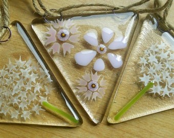 Floral glass bunting, fused glass bunting with delicate Alliums and daisies, bunting for the garden or home decor.