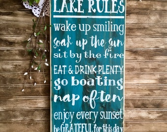 Lake rules, rustic wood sign, lake decor, handpainted wooden signs, wooden sign, wood sign, lake sign, outdoor sign, rustic wood sign