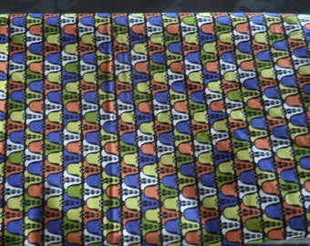 originial dimension 220 cm x 75 cm African style purple orange green cotton fabric