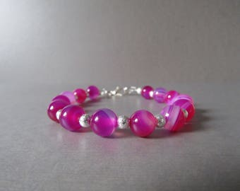 Rose Pink Banded Agate & Stardust Bead Bracelet Naturl with Sparkle!!