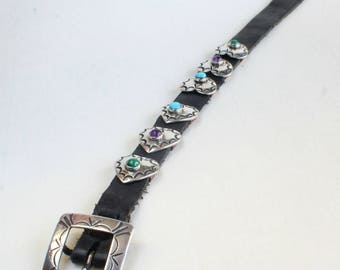Navajo Indian Native American Inlaid Heart Concho Sterling Silver Bracelet