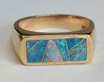 Australian Opal Inlay Inlaid Ring 14k Gold