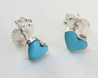 Sterling Silver Studs Hearts Turquoise Earrings Zuni Indian Native American Small Tiny