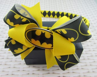 Woven Headband Inc Boutique Bow - Batman