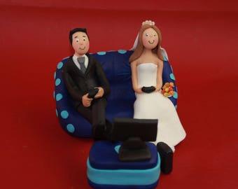 Custom Wedding Cake Topper - Gamer Groom - Video Game Groom - Personalized couch - Cake Topper - Gaming Groom - Game Over