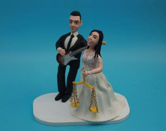 Unique Cake Toppers - Bride lawyer & Groom with Music Instruments Personalized Wedding Cake Topper, Couple. Wedding keepsake