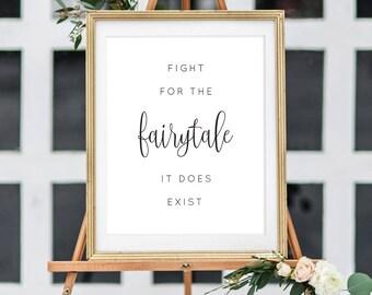 Printable Wedding Fairytale Sign/ Wedding Sign/ Fairytale Wedding/ Signage/ Wedding Printable/ PDF/ Instant Download/Elizabeth suite #049-11