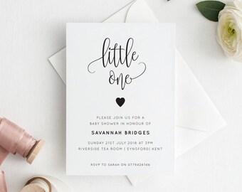 Printable Baby Shower Invitation | Baby Sprinkle | Baby Shower | Little One | Script | PDF | Download | Savannah suite #066-24