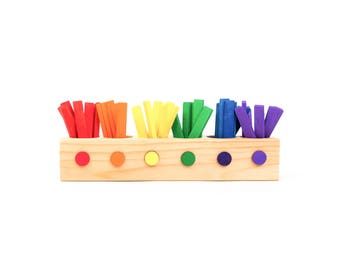 Montessori Toy | Sticks Sorting Game | Waldorf Learning Games | Montessori Learning Games | Preschool Kids Activity | Christmas Gift for Kid