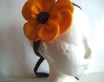 orange with big flower headband