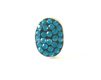 Ring adjustable silver ring with Rhinestone inlay