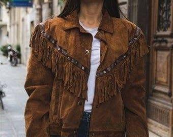 Vintage suede biker jacket punk '80 with fringe cod.9-119