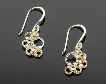Handmade Two-Tone Stepping Stones Chainmaille Earrings
