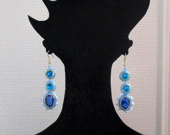 Earrings art deco vintage swarovski crystal royal blue.