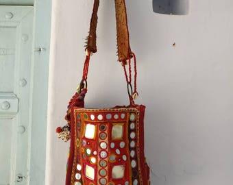 Free shipping: A Rare & Unique vintage Banjara bag, hippie bag, Boho Bag, Gypsy Bag, hand embroidered Ibiza bag, Beach bag