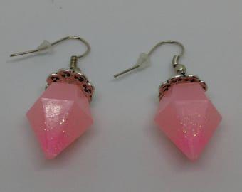 Pink resin diamond earrings