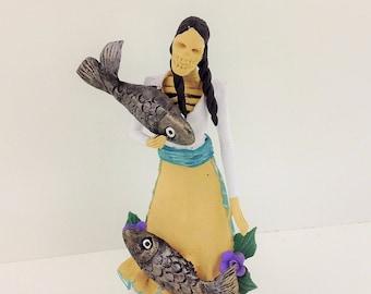 Dia de Los Muertos Day of the Dead Figurine Purepecha Doll Clay Figurine Mexican Folk La Catrina Guare
