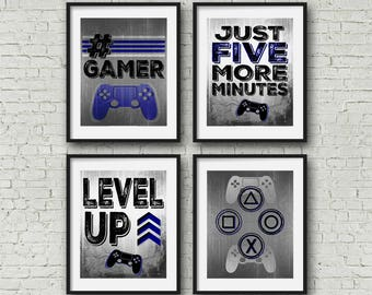 wall posters for bedroom. Gallery Wall  8x10 Square Playstation Controller Gamer Teen boy bedroom game Game room wall art Etsy