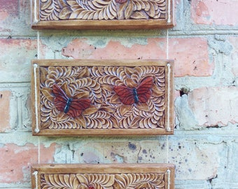 Wooden butterfly, Flying butterfly, Triptych painting, Triptych wall art, Carved butterfly, Carved triptych, Woodcarving, Wall decorations