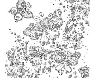 Butterfly Coloring Page, Colouring Sheets, Adult Colouring, Downloadable Coloring Page, Kids Coloring Pages, Downloadable Colouring Page