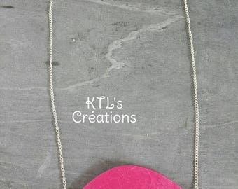 "Long ""Pink Bird"" polymer necklace"