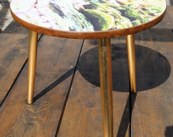 Upcycled Mid-Century Tripod Side Table