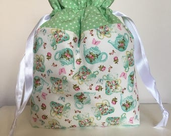 Knitting bag / knitting bags / crochet bag / project bag - Afternoon tea - polka green - Teapots