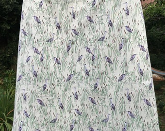 A Line skirt - lined cotton Heron and Reeds print, Spring colours, custom made, light summer cotton, made to measure
