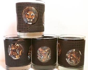 4 Libbey M. Dia Mid Century Modern/Vintage Safari Themed-Big Game Lowball Rocks Glasses // 1960-70's // 4 Piece Set // 8 Available