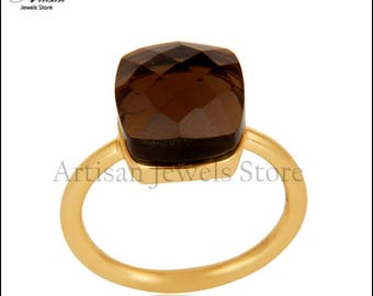 Gift Ring Jewelry, Smoky Quartz Gemstone Ring 18k Gold Plated Gemstone Jewelry, 92.5 Sterling Silver Ring
