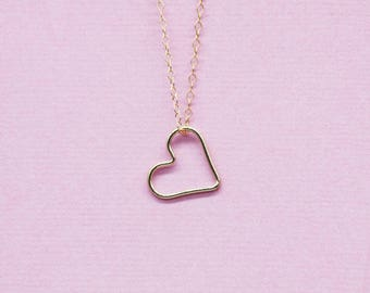 coeurplaque necklace gold / heart necklace