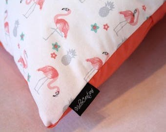 Coral Flamingo Handmade Pillow cover with pillow insert included