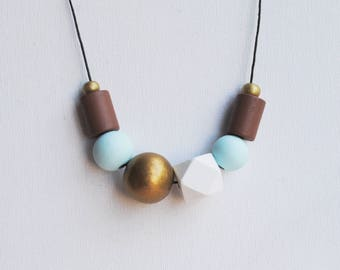 Chunky Geometric Necklace, Boho necklace, Statement Necklace, Bohemian Jewelry, Handmade necklace, Wooden necklace Blue Bronze Brown
