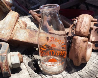 Summer Splash Sale - Alba Dairy Glass Milk Bottle - Boulder, Colorado - Classic Pint Bottle - 1900's