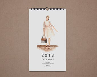 2018 Fashion Illustration Calendar, watercolor, handmade, gift, wall calendar