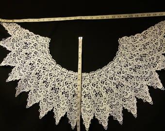 Neck piece. Guipure lace costume embellishment. Vintage lace neckline piece.